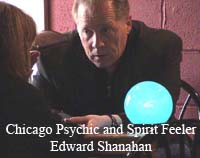 Chicago Psychic Reader and Spirit Feeler, Edward Shanahan during a public location psychic fair reading
